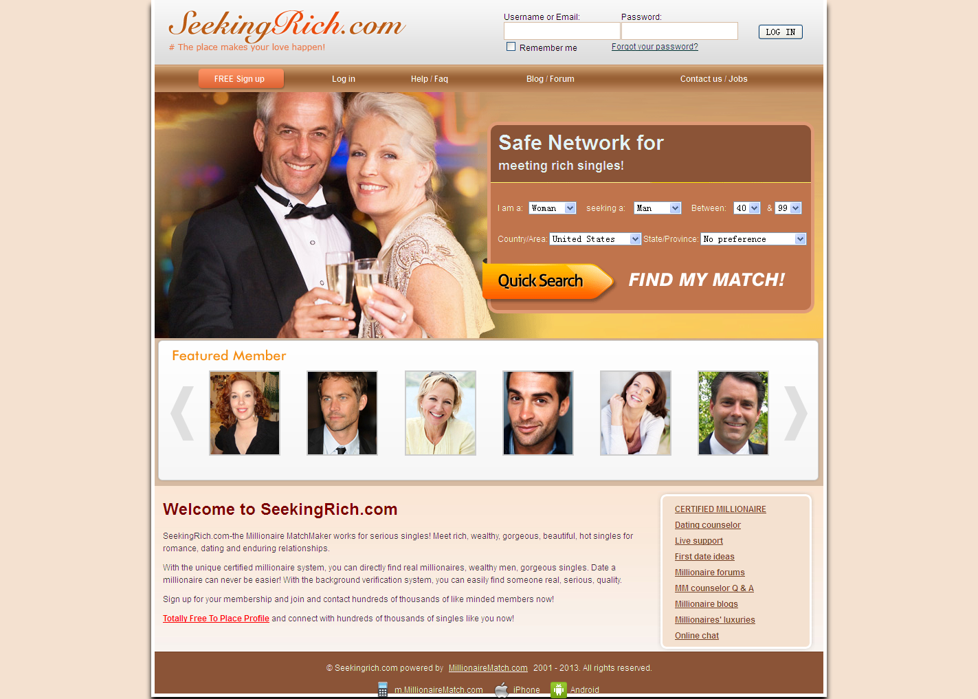 Free dating sites for the rich